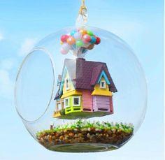 """Up"" house & balloon terrarium"