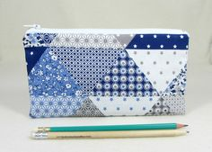 Pencil case, School supplies, Blue and white zipper pouch, Small makeup bag, Pencil holder, Patchwork gadget case by JRsbags on Etsy