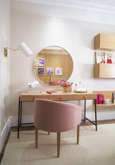 Mostra Quartos Etc. São Paulo 2018 - QUARTO SOLTEIRA_FEMININO_Cintia Aguiar Home Bedroom, Room Decor Bedroom, Bedrooms, Single Bedroom, Pretty Room, Home Office Organization, Room Planning, Dream Decor, New Room