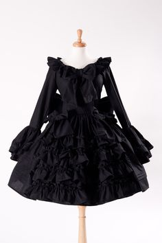 ef4ebd972e7 Black Gothic Lolita Goth Loli Cotton Dress and Detachable Bow Cosplay Custom  Size including Plus Size
