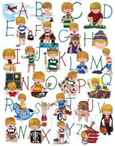 Alphabet Poster Boy Back to School School Room Decor by heidibg, $30.00