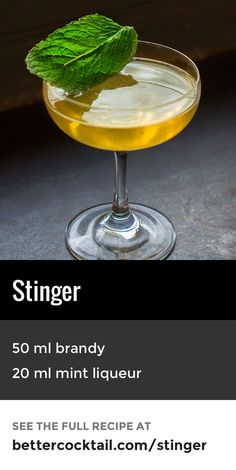 "The Stinger #cocktail is a lesser known, brandy-based drink. Made from just two ingredients, Cognac and crème de menthe (a mint liqueur), this drink is fairly strong when served straight in a #cocktail glass. It can also be served ""on the rocks"" in an old fashioned glass if preferred."