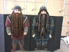 Ben & Alexander in Hobbit Dwarf Beards, kneeling behind costume boards #1 & #2, we made for a music number. Moms made the beards, college age sister Rebecca painted the boards.