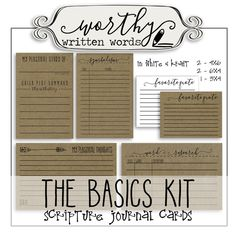 These are not full size page printouts. There are 2 4X6 cards, 2 6X4 cards, and 1 3X4 cards. Could be used for regular journals, pocket page journals or for scripture inserts. Includes: - My Personal