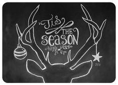 Deer Antler Card - Tis The Season - Christmas Chalkboard Art - Antler Illustration - Rustic Christmas Card - Hand Lettered Christmas Card Christmas Chalkboard Art, Chalkboard Art Quotes, Chalkboard Drawings, Chalkboard Lettering, Chalkboard Designs, Hand Lettering, Chalkboard Ideas, Chalk Board Christmas, Chalkboard Art Kitchen