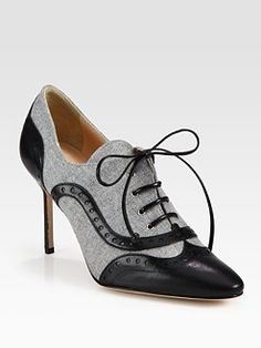 Manolo Blahnik - Flannel and Leather Lace-Up Oxford Ankle Bootie