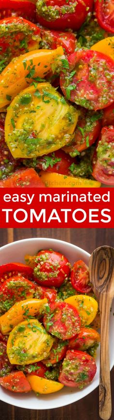 Easy marinated tomatoes recipe with so much flavor! Makes store-bought tomatoes taste WAY better! Marinated tomatoes keep well refrigerated up to 1 week | natashaskitchen.com