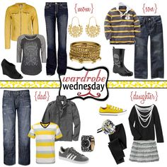 little bit rock n roll- Love the yellow! Family Photos What To Wear, Fall Family Photos, Family Pictures, Kid Photos, Holiday Photos, Christmas Photos, Family Picture Colors, Family Picture Outfits, Family Portrait Outfits