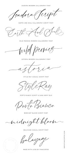 A selection of wedding and modern calligraphy script fonts + trendy hand lettered script fonts created by PinkCoffie Tattoo Writing Fonts, Calligraphy Fonts Alphabet, Tattoo Fonts Cursive, Handwriting Alphabet, Hand Lettering Fonts, Tattoo Script, Free Tattoo Fonts, Wedding Calligraphy Fonts, Lettering For Tattoos