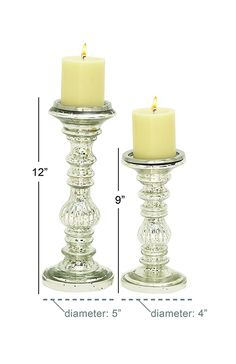 "Glass Metal Candle Holder S/2 9"", 12""H Silver Candle Holders, Candle Sticks, Candles, Antiques, Glass, Antiquities, Candlesticks, Antique, Drinkware"