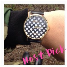 HP Black Polka Dot Watch Adorable black and white polka dot watch. Price is firm. Bundles of 2 or more receive a 10% off discount Accessories Watches
