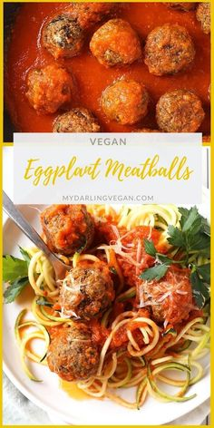 Vegan eggplant meatballs baked to perfection and served with homemade marinara and zucchini noodles. Its a delicious and low-carb vegan meal. Easy Vegan Dinner, Vegan Dinner Recipes, Vegan Dinners, Vegetable Recipes, Whole Food Recipes, Vegetarian Recipes, Cooking Recipes, Healthy Recipes, Vegan Eggplant Recipes