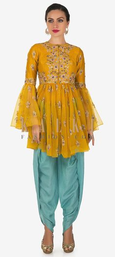 Yellow Net Kediyu Top and Blue Mul Cotton Dhoti Salwar Set Only on Kalki Pakistani Dress Design, Pakistani Outfits, Indian Outfits, Salwar Designs, Blouse Designs, Sleeve Designs, Indian Designer Outfits, Designer Dresses, Indian Look