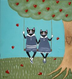 So cute- cats in LOVE! Art by Ryan Conners