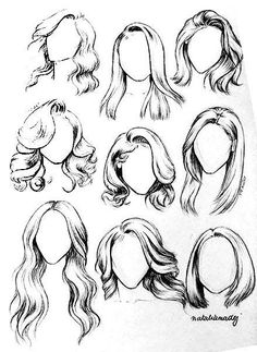 Straight hair & wavy hair drawing examples for fashion sketching beginners