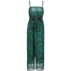 Bohemian Spaghetti Strap Sleeveless Paisley Jumpsuit ($14) ❤ liked on Polyvore featuring jumpsuits, jump suit, bohemian jumpsuit, spaghetti strap jumpsuit, boho jumpsuit and green jumpsuit