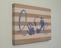 Cualquier Color amor Handprint y huella arte de por SnowFlowerArts