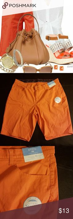 NWT Orange Bermuda Shorts Riders by Lee orange bermuda shorts. Slender stretch denim. Comfort waist. Size 16W. New with tags. 1st picture to show styling, not product. (Bin 9) Riders by Lee Shorts Bermudas