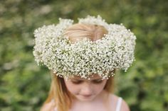Babys breath flower girl crown