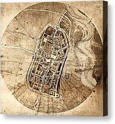 In 1502, Leonardo created a map of Cesare Borgia's stronghold, a town plan of Imola in order to win his patronage. When presenting to Cesare, the leader must have been in awe. People at the time had rarely seen maps. Maps themselves held a magical feel to them at the time as it would have seemed as if one was holding a piece of land in the palm of their hands. Cesare hired Leonardo upon seeing the map as his chief military engineer, architect.