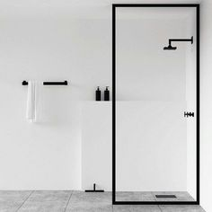 Scandinavian bathroom, minimalist bathroom, white and black bathroom Minimalist Bathroom Design, Minimalist Interior, Bathroom Interior Design, Minimalist Decor, Minimal Bathroom, Bathroom Black, Modern White Bathroom, Bathroom Designs, Peach Bathroom