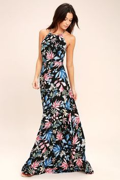 Lulus Exclusive! The Loving Ways Black Floral Print Maxi Dress is ready to show you what true love looks like! Blue, pink, and green floral print decorates woven poly as it sweeps across a darted bodice with an apron neckline. Adjustable straps create a lace-up look atop an open back. Cascading maxi skirt. Hidden back zipper.