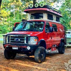 Red hot Sportsmobile with Aluminess gear♨ . 4x4 Camper Van, 4x4 Van, Camper Life, Truck Camper, Camper Trailers, Lifted Van, Travel Camper, Vanz, Cool Vans
