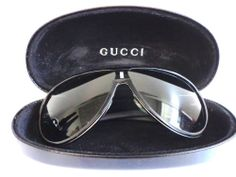 GUCCI  SUNGLASSES, BLACK WITH GUCCI CASE, WOMEN'S DESIGNER Hip Vintage aviator style...