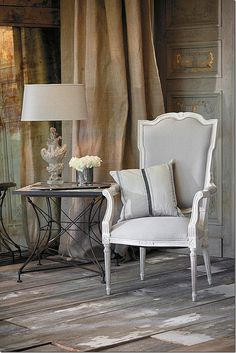 The elegant Josie chair with bleached wood frame, from Aiden Gray featured in Cote De Texas Blog http://cotedetexas.blogspot.com/2012/04/me-and-aidan-gray