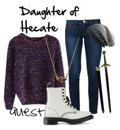 """""""Daughter of Hecate"""" by runnerbye ❤ liked on Polyvore featuring Frame Denim, Chicwish, Dr. Martens, Michael Stars, Katie Diamond, combatboots, camphalfblood, Demigod, sword and Hecate"""