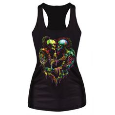 Capture Liverpool Private Reserve cool-girl styling with the thunder in our Punk Art Skull Couple Print Tank Top. Crafted in the quality soft polyester and spandex-blend jersey, this style will accent your off-duty looks with an eclectic edge. Skull Tank Tops, Black Tank Tops, Crop Tops, Punk Rock, Rockabilly, Ladies Sports Tops, Punk Outfits, Workout Tank Tops, Printed Tank Tops