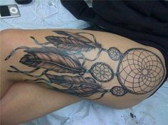 dreamcatcher tattoo leg - 50 Dreamcatcher Tattoo Designs for Women