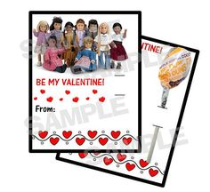 American Girl Dolls personalized Valentine Cards by myhtmdesigns, $8.99
