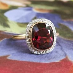 Antique Victorian 1890's 5.84ct t.w. Cushion Garnet & Old Rose Cut Diamond…