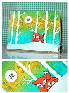 Hey there! I am back today to share a card featuring twonew products from the Hero Arts-OperationWrite Home Collection:The Fox says and Forest Stencil... This is a 3x4 set thatalso includes a co...