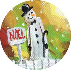 Make snowman ornament craft project.  Use ready made blank coasters. Here's how!:
