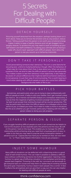 Ways to deal with people you find difficult at work or socially. Practical tips to use straightaway when you lack confidence. coaching The Secret to Dealing With Difficult People at Work Dealing With Difficult People, Working People, Difficult People Quotes, Managing People, People At Work, People Use You Quotes, How To Read People, Dealing With Stress, Find People
