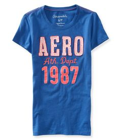 Aero 1987 Floral Eyelet Athletic Graphic T - Aeropostale