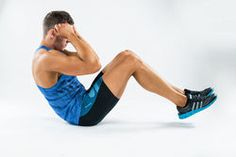 one caucasian man exercising crunches fitness weights exercises in studio.