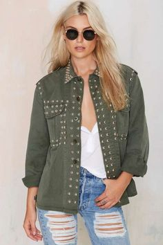 After Party Vintage Smash It Up Army Jacket