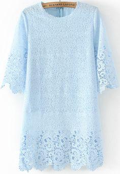 Blue Half Sleeve Floral Crochet Lace Dress - Sheinside.com