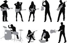 Vectores libres de derechos: Silhouette of musicians