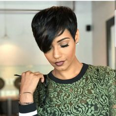 Real Hair Capless Wigs Human Hair Wavy Pixie Cut / Short Hairstyles 2019 Natural Hairline Natural Black Machine Made Wig Ladies - Trend Hair Styles for 2019 Short Black Hairstyles, Short Pixie Haircuts, Pixie Hairstyles, Short African American Hairstyles, Black Pixie Haircut, Short Sassy Hair, Short Hair Cuts, Short Relaxed Hair, Short Cut Wigs