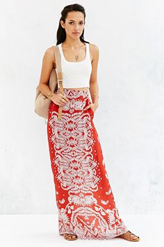 Staring At Stars Straight-Cut Boho-Print Maxi Skirt