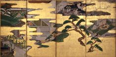 Nine Scenes from the Tale of Genji. Tawaraya Sōtatsu. Minneapolis Institute of Art. Left half of eight fold screen.