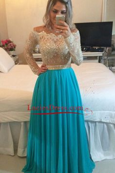 2016 Scoop Evening Dresses Long Sleeves A Line Chiffon With Applique And Beads