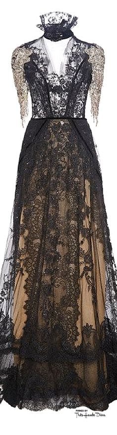 Reem Acra Fall 2015 RTW Re-Embroidered Lace Gown Woth Draped Bodice ♔THD♔