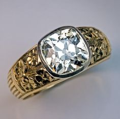 Art Nouveau Antique 2.83 Ct Diamond Chased Gold Mens Ring - Antique Jewelry | Vintage Rings | Faberge Eggs