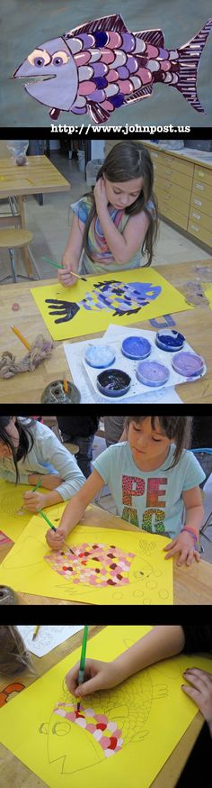 ♥Monochromatic Fish Paintings Mono = one Chroma = color 4th grade tint shades art lesson project plan ocean