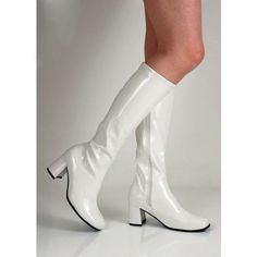 White 1960s Go Go Ladies Retro Boots For Women Knee High Boots 60s 70s... ❤ liked on Polyvore featuring shoes, boots, knee high boots, white knee high boots, white knee boots, knee boots and white boots